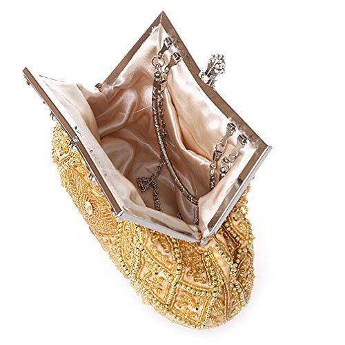 Belsen Damen Retro Blatt wulstige Beutel Paillette Party Hochzeit Handtasche Clutches gold