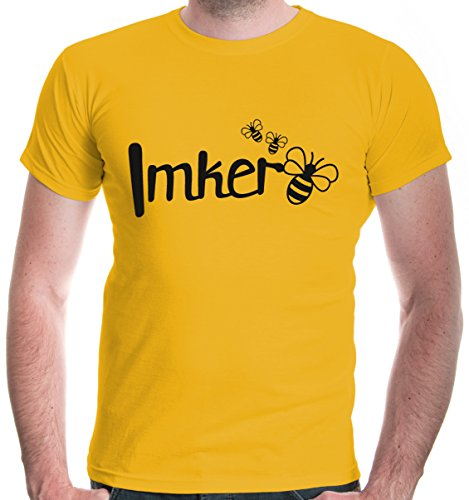 buXsbaum Herren T-Shirt Imker   Biene Honig Bienenzüchter Bienenflüsterer Bienenvolk   XL, Gelb
