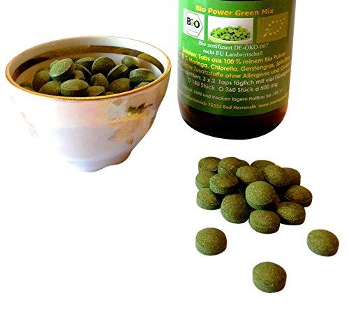180 Bio Green Power Mix Tabs im Spar Pack aus Bio Moringa, Bio Gerstengras, Bio Chlorella, Bio Spirulina 100% rein deutsche Bio Verarbeitung 500 mg -