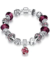 LDUDU® Pulsera charms de mujer plateado de plata con charms de cristal de murano púrpura y cristales austriacos regalo para mujer niña Cumpleaños Navidad San Valentin