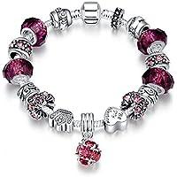 LDUDU® Bracciale Charms da donna in argento con charms argento vetro di Murano regalo per donna ragazza compleanno natale san valentin