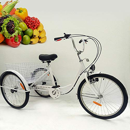 OU BEST CHOOSE 24' 3 Ruote Triciclo per Adulti con Lampada 6 velocità Biciclette, Carrello della Spesa Triciclo Triciclo Pedale Bici per Biciclette, per Lo Shopping all'aperto Picnic Sport (Bianca)