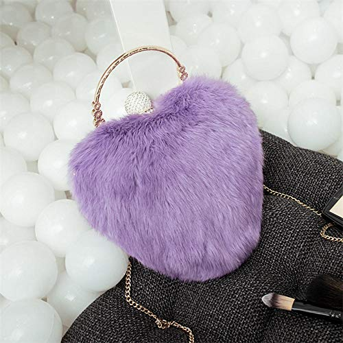 Fyyzg Herbst und Winter Neue echte Kaninchenhaarkette Mode Fell Pfirsich Herz Edelstein Abendtasche Trend Clutch - violett