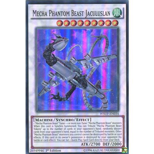YuGiOh : WSUP-EN034 1st Ed Mecha Phantom Beast Jaculuslan Super Rare Card - ( World Superstars Yu-Gi-Oh! Single Card ) by Deckboosters