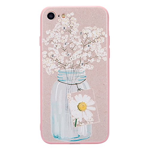 JAWSEU Coque pour iPhone 7,iPhone 7 silicone Etui Transparent,iPhone 7 TPU Case Rose Or,2017 Neuf Design Pailletee Sparkle Glitter Flash Diamant Strass Placage Soft Gel Protective Case Cover Ultra Sli Flower Fleur 2
