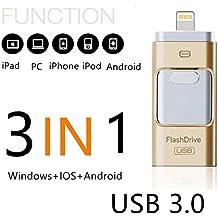 SETAYO 16GB 3 en 1 OTG móvil USB 3.0 Flash Drive con conector de rayos para el iPhone iPad y Android Micro USB y el PC y MAC
