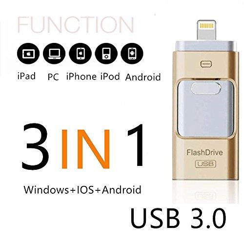 SETAYO 64GB 3 in 1 OTG Mobile USB3.0 Flash Drive mit Blitz Anschluss für iPhone iPad und Android Micro USB und PC & MAC (Digital-movie-speicherung)