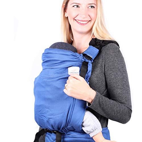 SCHMUSEWOLKE Comfort Babytrage Neugeborene und Kleinkinder Horizon BIO-Baumwolle Babysize 0-12 Monate 3-12 kg Bauch-und Rückentrage