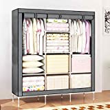 GTC 6+2 Layer Fancy and Portable Foldable Closet Wardrobe Cabinet Portable Multipurpose Clothes Closet Portable Wardrobe Storage Organizer with Shelves Folding Wardrobe Cupboard Almirah Foldable Storage Rack Collapsible Cabinet (Need to Be Assembled) ( 88130 ) (Grey)