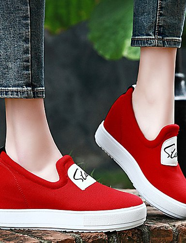 ZQ Scarpe Donna - Mocassini - Ufficio e lavoro / Formale / Casual / Sportivo - Creepers / Comoda - Plateau - Di corda - Nero / Rosso , red-us8 / eu39 / uk6 / cn39 , red-us8 / eu39 / uk6 / cn39 red-us5.5 / eu36 / uk3.5 / cn35