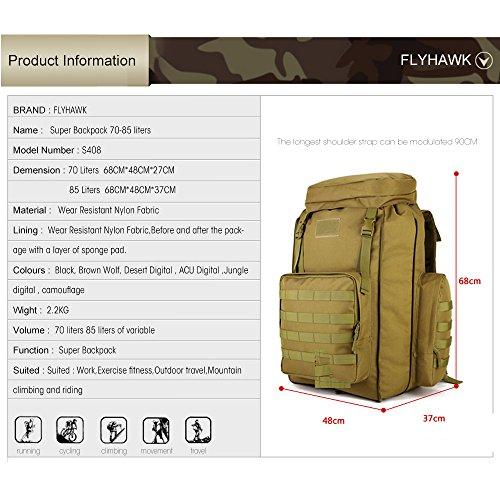 FLYHAWK Taktisch Molle Rucksack, Super Gross Outdoor Wasserdicht Reisetasche Gear für Laptop, 70L-85L, 4 Farben S408-Wüsten-Digital