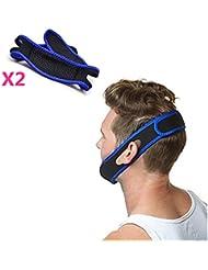 mucher ajustable correa de barbilla de roncar (2/PACK) proporciona comodidad y alivio para su Apnea del sueño, insomnio y congestión nasal (talla única), color azul