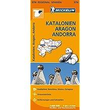 Michelin Regionalkarte Spanien Katalonien, Aragon, Andorra 1 : 400 000: Stadtpläne: Barcelona, Girona, Zaragoza. Ortsverzeichnis, Entfernungen und Fahrzeiten