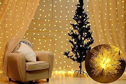Vorhang Eiszapfenlichter 10 Ft * 10 Ft Schnur-Licht-300 LED Chuzzle-Kugeln mit 8 Modi für Hochzeit, Party, Feste, Weihnachten, Dekoration für Innen- und Außen Haus, Balkon, Fenster (Weiß)