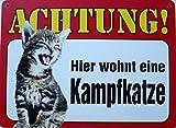 Schild 14x19cm - Hier wohnt eine Kampfkatze Katze Haus Alu Coupon dipond