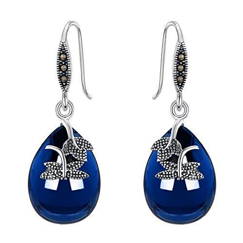 Ever Faith Plata de Ley 925 Azul Corundo Cristal Retro Maple Hoja Libélula Lágrima Gancho Pendientes