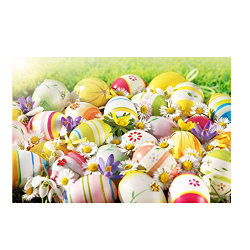 Dasongff Oster-Hintergrund,Foto Hintergrund für Ostern Dekoration,Vinyl Photo Background Props,Hase,Ostereier,Blumen 90 X 150cm