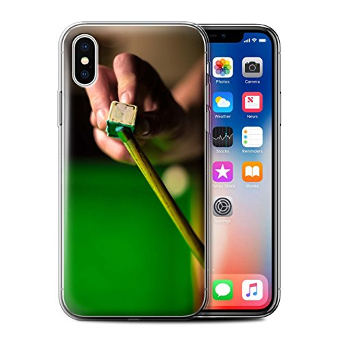 Stuff4 Gel TPU Hülle / Case für Apple iPhone X/10 / Blaue Kugel/Rack/Rosa Muster / Snooker Kollektion Kreide/Queue