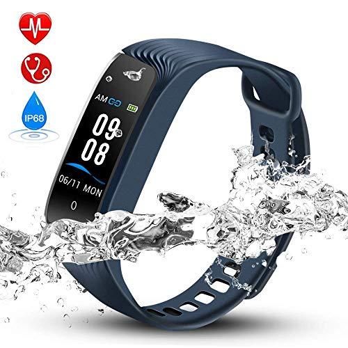 Hommie Fitness Tracker Waterproof Activity Tracker Kalorienzähler, Schrittzähler, Pulsmesser, Schlaf-Monitor, Reminder Ersatzarmband Sportband für iOS & Android, Blau