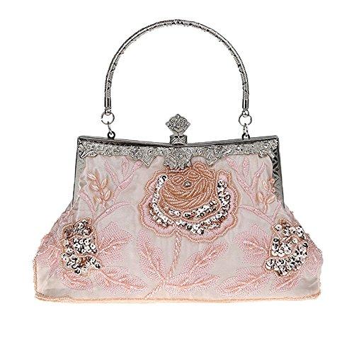 Heyjewels Handmade Damen Abendtasche Brauttasche Beaded Perlen Clutchtasche Glitzer Blumen Abendtasche (Pink) -