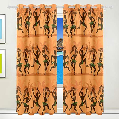 Ahomy Afrika Art Culture Paisley Polyester Vorhang Verdunkelungsvorhang Home Decor für Terrasse Fenster Schiebetür Glas Tür 213,3 x 139,7 cm 2 Panels Set - Art-glas-panel