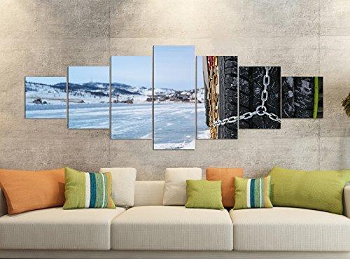 Leinwandbilder 7 Tlg 280x100cm Schneeketten Autoreifen Winter Schnee Leinwand Bild Teile teilig Kunstdruck Druck Vlies Wandbild mehrteilig 9YB1322, Leinwandbild 7 Tlg:ca. 280cmx100cm