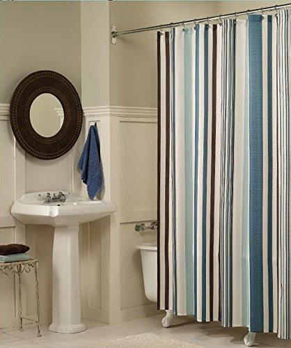 beddingleer 180cmx180cm Stripe Tessuto ad asciugatura rapida doccia tenda impermeabile resistente alla muffa tenda per doccia antiscivolo con ganci 182,9x 182,9cm