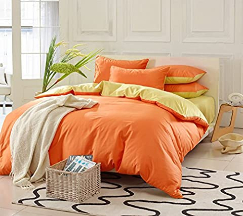 Collection Drap Parure de lit, Coton égyptien longues fibres hypoallergénique, Housse de couette couette & taie d'oreiller Set de 4Pièces, reine