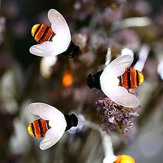 AntEuro Honigbienen Lichter, EONANT Bee String Lichter 30LED Wasserdicht Honig Bienen Solar Lichter für Outdoor Garten Sommer Party Hochzeit Weihnachten Dekoration (Cold White)