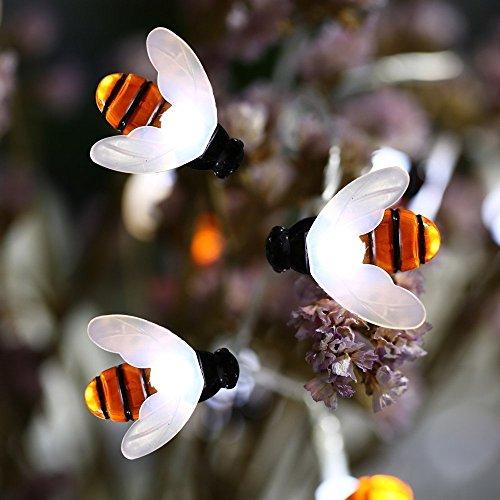 Solar Biene Lichterketten, EONHUAYU Honigbienen Lichter Honig Bienen Lichter 30 LED Wasserdichte...