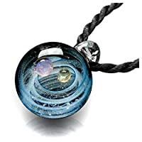 Jovivi Natural Nebula Lampwork Glass Pendant Necklace Unique Universe Galaxy Space Choker Necklace for Women Girls - Series Nebula Ribbon Double Planet