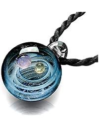 Jovivi joyería Collar de Mujer con Colgante nebuloso Galaxia Pianeta Universo de Vidrio, Dos Tipos de Cadena, Color Bello,…