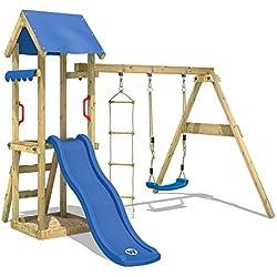 WICKEY Aire de jeux TinyCabin Tour d'escalade Jeu de plein air avec balançoire et toboggan, bac à sable et échelle de corde, bleu