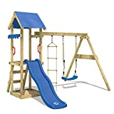 WICKEY Climbing Frame TinyCabin Monkey Bars Playground, Swing Set and Slide, Sandpit and Rope Ladder