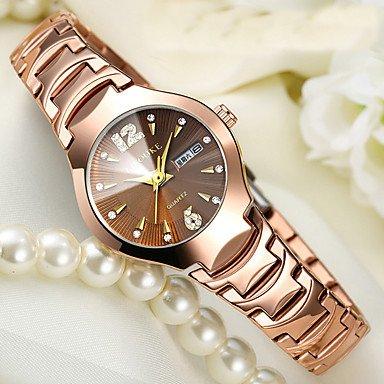 Schöne Uhren, Damen Kinder Modeuhr Armband-Uhr Einzigartige kreative Uhr Armbanduhren für den Alltag Chinesisch Quartz Kalender Wasserdicht Edelstahl ( Farbe : Gold , Geschlecht : Für Damen )
