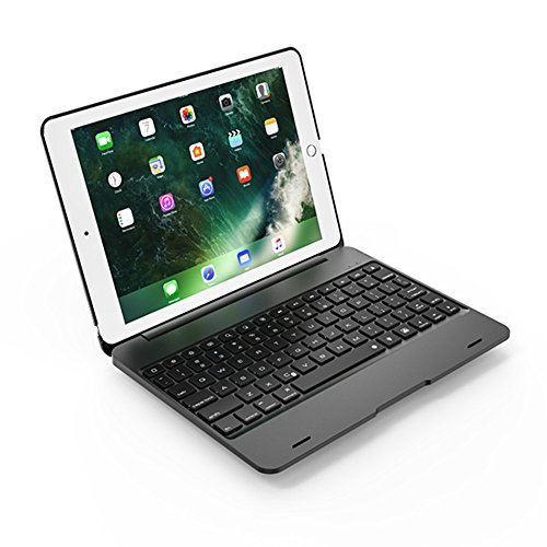 iPad Pro 9.7'' Bluetooth Keyboard Case, KooKen Bluetooth 3.0 Wireless Keyboard Premium Schock-resistent Schützende Aluminium Case Cover + 1PC Gehärtetes Glas Film für iPad Air 1, iPad Air 2, iPad Pro 9,7 '', 2017 Neues iPad - Schwarz (Ipad Und Das Wireless Keyboard Case)