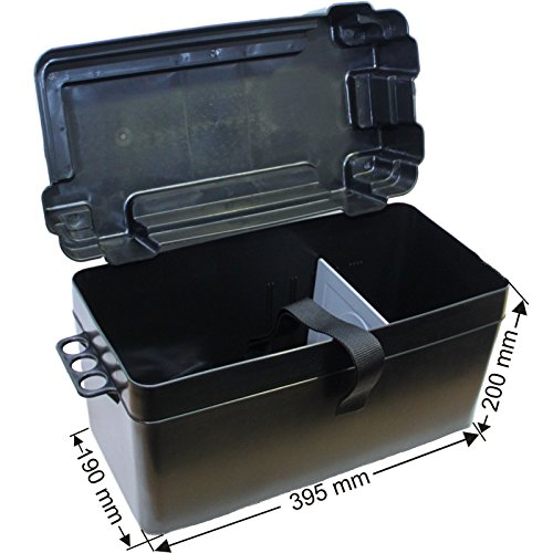 Batteriekasten mit Befestigungsgurt und zusätzlicher Trennwand 395 x 190 x mm /Innenabmessung 385 x 175 x 225 mm