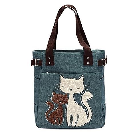VRIKOO Women's Canvas Cartoon Cat Handbag Tote Mummy Bag Lightweight Shoulder Shopping Bags