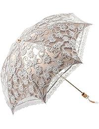 Mujeres señoras de las muchachas del cordón portátil plegable al aire libre Dos veces contra los rayos UV Sombrilla parasol con bolsa de almacenamiento