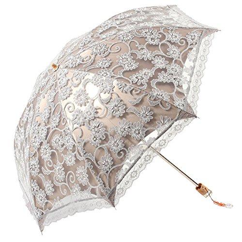 Sonnenschutz Regenschirm Sonnenschirm mit Aufbewahrungstasche,Damen,Anti UV,Tragbar Falten,Lace,Eleganz,Grau,Beetest
