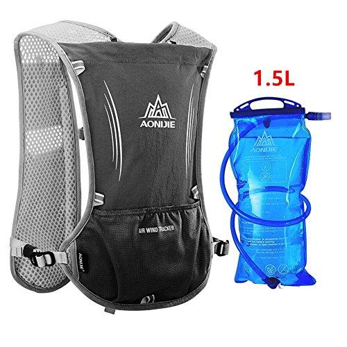 Imagen de aonijie  de hidratación ligera para actividades al aire libre, senderismo, ciclismo, 1,5 litros, negro
