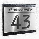 Hausnummer Schild Edelstahl & Natur-Schiefer - Wunsch-Gravur Hausnummer & Straße/Name – modern - perfekte Geschenkidee