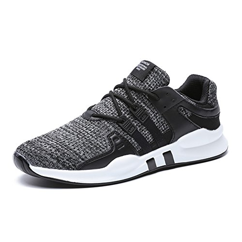 Männer Schuhe Für Sport (HUSK'SWARE Herren Laufschuhe Atmungsaktiv Gym Turnschuhe Freizeit Schnürer Sportschuhe Sneaker- Gr. 45 EU, Schwarz Grau)