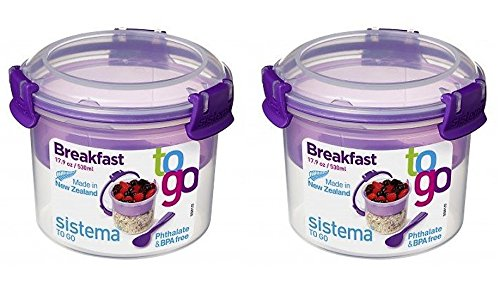 Müsli To Go SET, Aufbewahrungsbehälter für Lebensmittel mit Unterteilung, 2x530 ml, violet