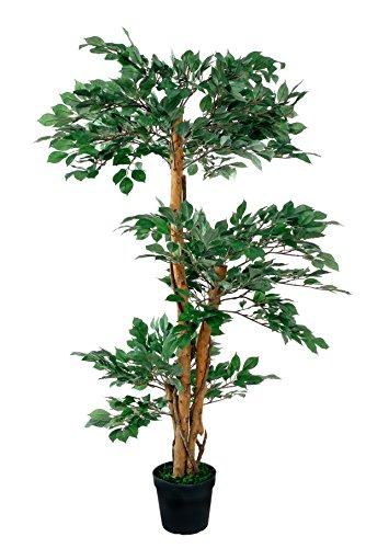 Ficus 3 Kronen grün 1,30 m incl. Topf Kunstbaum Kunstpflanze