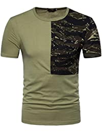 Mens T Shirts,Mens Shirts Short Sleeve,Mens Shirts Casual,Mens Tops,Men Shirt New Look,Moonuy Men Casual Camouflage Print Patchwork Short Sleeve Fashion Handsome T Shirt Top Blouse