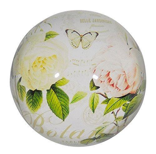 french-style Rosen Blumen rosa weiß schwer Rund Glas Briefbeschwerer 8cm