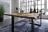 SAM® Esszimmertisch 180x90 cm Ida, echte Baumkante, massiver Esstisch aus Akazienholz, Metallbeine schwarz, Baumkantentisch