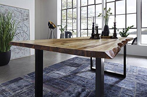 SAM Esszimmertisch 160x85 cm Ida, echte Baumkante, massiver Esstisch aus Akazienholz, Metallbeine schwarz, Baumkantentisch