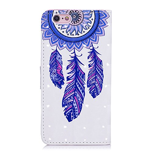 iPhone 6 Plus Custodia, iPhone 6S Plus Cover, JAWSEU iPhone 6/6S Plus Custodia Pelle Portafoglio Lusso 3D Modello Design Creativo PU Leather Wallet Flip Cover Custodia per iPhone 6S Plus Copertura con Campanula Blu
